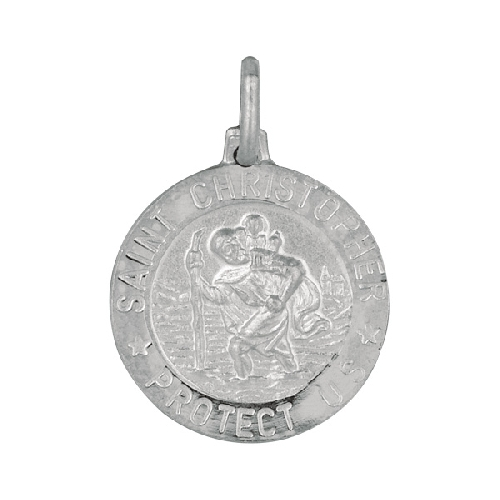 Silver Textured Nickle Size Saint Christopher Pendant Metal