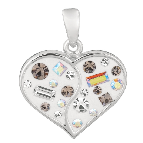 Shiny White Heart Pendant with Multi-Color Crystal Metal