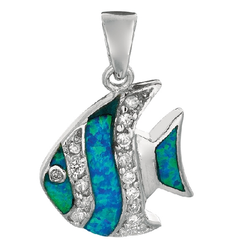 Silver Shiny Created Opal Fish Pendant Metal