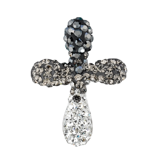 Silver Fancy Cross Crucifix Pendant with Black Faded Into White Crystal Style