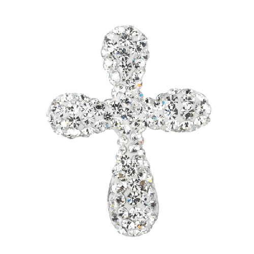 Silver Fancy Cross Crucifix Pendant with White Crystal Style