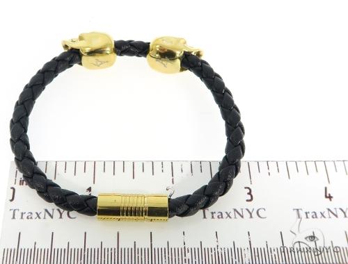 Skull Head Leather Bracelet 56482 Stainless Steel
