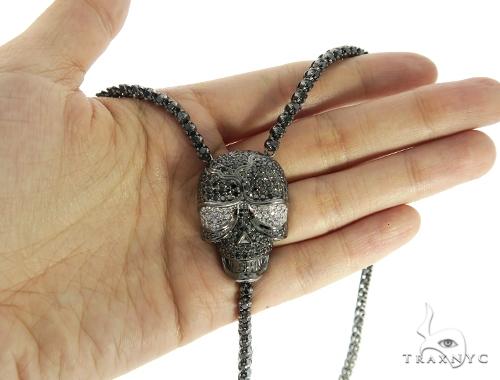 Skull and Cross Crucifix Black Diamond Pendant Chain 49785 Metal