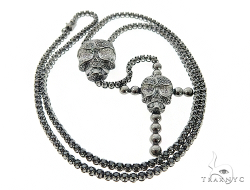 Skull and Cross Crucifix Black Diamond Pendant Chain 49785 Metal