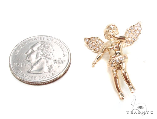 Small 14K Gold Diamond Angel Pendant Stone