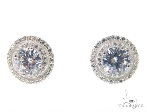 Small CZ Sterling Silver Earrings 48919 Metal