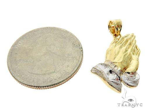 Small Two Tone Golden Prayer Pendant Metal