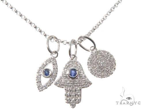 Small White Gold Hand Evil Eye Diamond Necklace 64478 Diamond