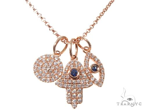 Small Rose Gold Hamsa Hand Evil Eye Diamond Necklace 64481 Diamond