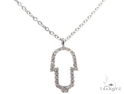 Small White Gold Hamsa Hand Diamond Necklace 64480 Diamond