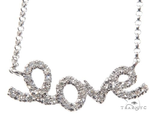 Small White Gold Love Diamond Necklace 64483 Diamond
