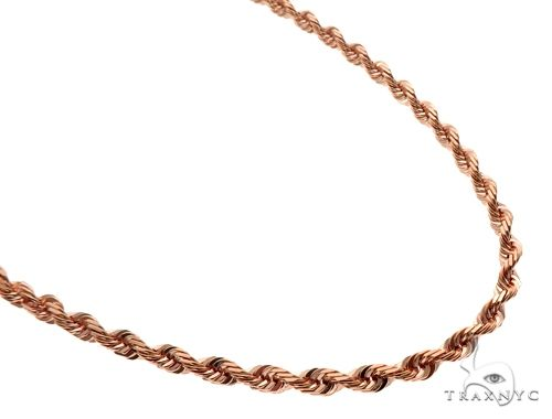 Solid 14K Rose Gold Rope Link Chain 30 Inches 6mm 77.5 Grams 64590 Gold