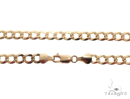 Solid 14K Yellow Gold Diamond Cut Cuban Curb Link Chain 22 Inches 5.5mm 18.5 Grams 64685 Gold