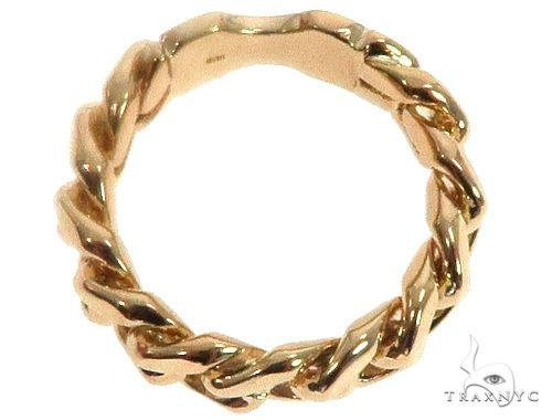 Solid 14K Yellow Gold Miami Cuban Link Ring 64678 Metal
