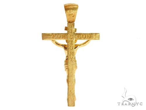 Solid 14K Yellow Gold Prong Diamond Jesus Cross Crucifix Pendant 64683 Diamond
