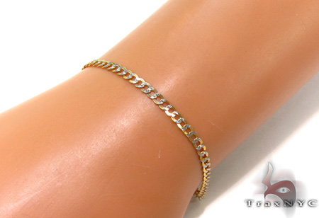 Solid Cuban Diamond Cut Bracelet 8.Inches 3mm 2.20 Grams Gold