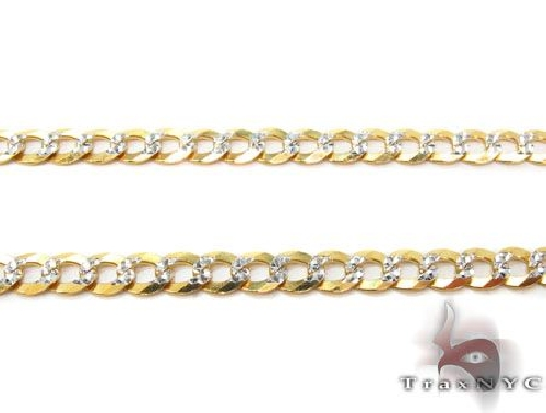 Solid Cuban Diamond Cut Chain 30 Inches 3.5mm 7.60 Grams 63350 Gold