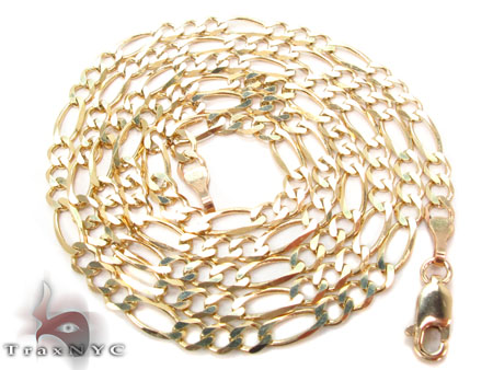 Solid Figaro Chain 24 Inches 4mm  7.99 Grams Gold