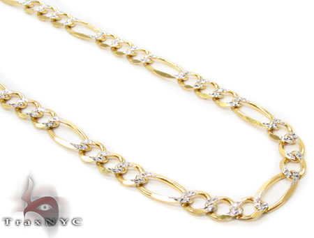 Solid Figaro Diamond Cut Chain 24 Inches 4mm 7.54 Grams Gold