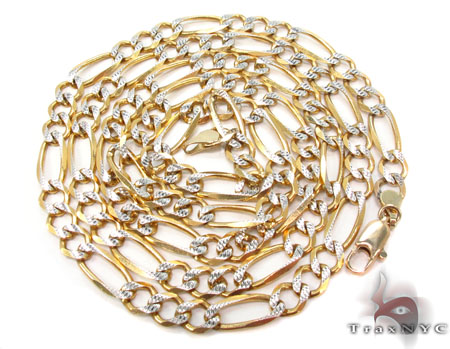 Solid Figaro Diamond Cut Chain 28 Inches 6mm 20.18 Grams Gold