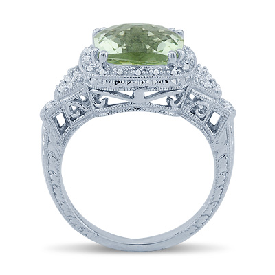 Solitaire Cushion Cut Green Amethyst Diamond Gemstone Ring In 14K White Gold Anniversary/Fashion