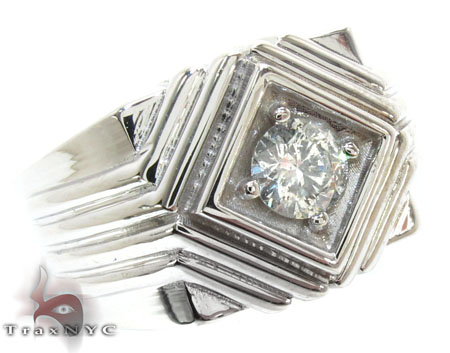 White Gold Mens Solitaire  XL Ring Stone