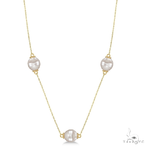 South Sea Cultured Pearls By The Yard Necklace 14K Yellow Gold (10mm) Stone