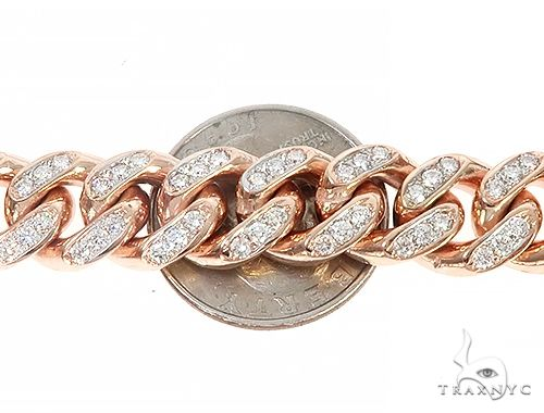 Special Custom Heavy Solid Rose Gold Miami Cuban Link Chain 65256 Diamond