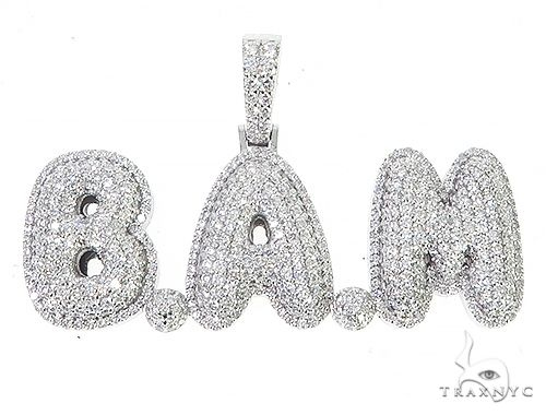 Special Custom White Gold Iced Out Diamond BAM Name Pendant 65249 Stone