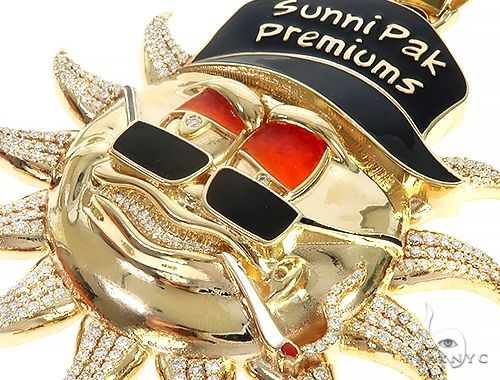 Special Custom Yellow Gold  Prong Diamond Enamel Sunny Pendant 65255 Metal