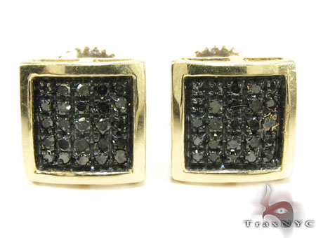 Square Black Diamond Earrings 26047 Stone