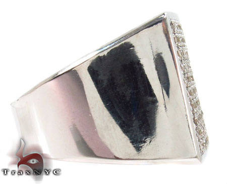 Square Silver Diamond Ring Metal