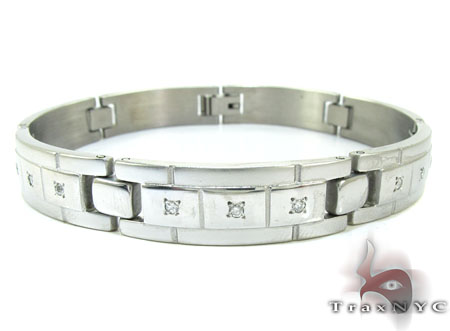 Stainless Steel Prong Diamond Bacelet Stainless Steel