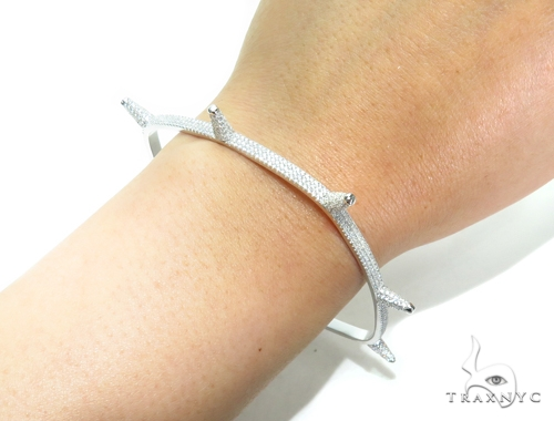 Sterling Silver Squar Bangle Bracelet 41946 Silver & Stainless Steel