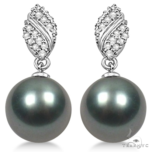Tahitian Cultured Pearl and Diamond Drop Earrings 14K White Gold 12mm Stone