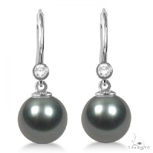 Tahitian Pearl and Diamond Leverback Earrings 14K White Gold 9-10mm Stone