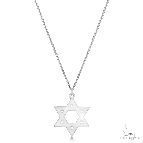 Textured Star of David Pendant Necklace in Hammered Sterling Silver Silver