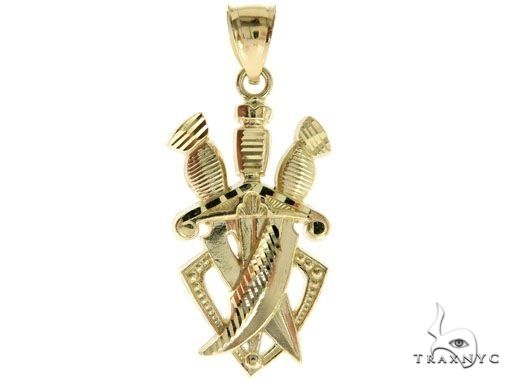 Three Daggers Pendant and 22 Inches Hollow Cuban Chain Set 61714 Style