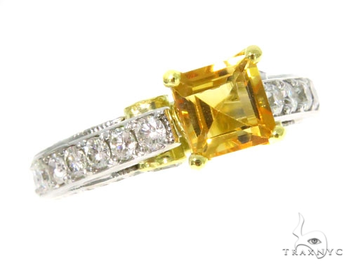 Diamond Citrine Gemstone Ring 44514 Anniversary/Fashion