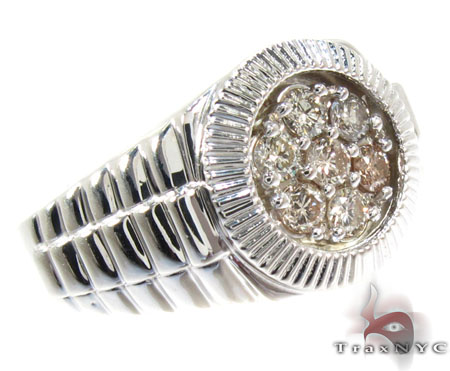 Silver Timepiece Solitaire Ring 25654 Metal