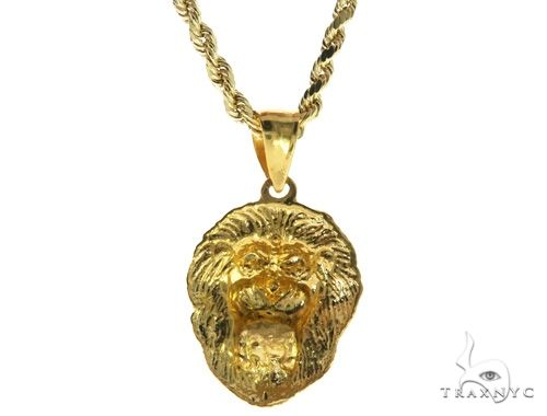 TraxNYC Black Diamond Lion Pendant and Rope Chain Set  61557 Style