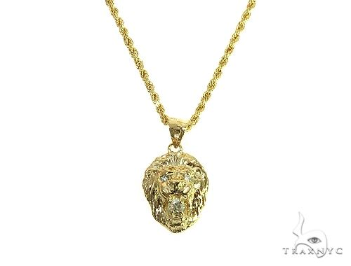 TraxNYC Diamond Lion Pendant and Rope Chain Set 66024 Style