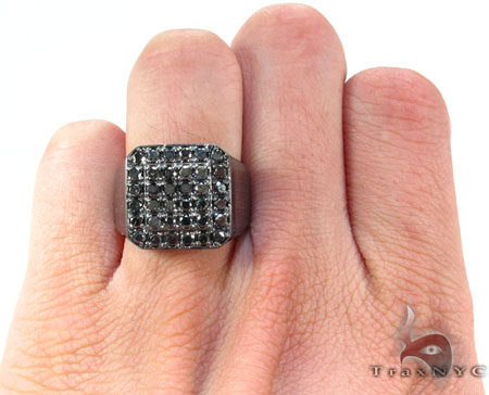 TraxNYC Silver Black Diamond Ring Stone