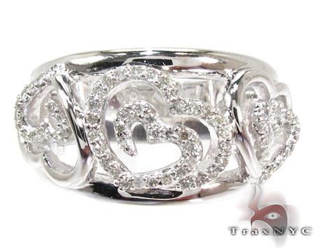 Triple Heart Diamond Ring Anniversary/Fashion