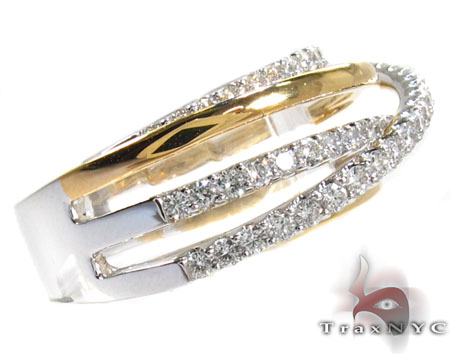 18K Two-Tone Gold Twist Diamond Ring Anniversary/Fashion