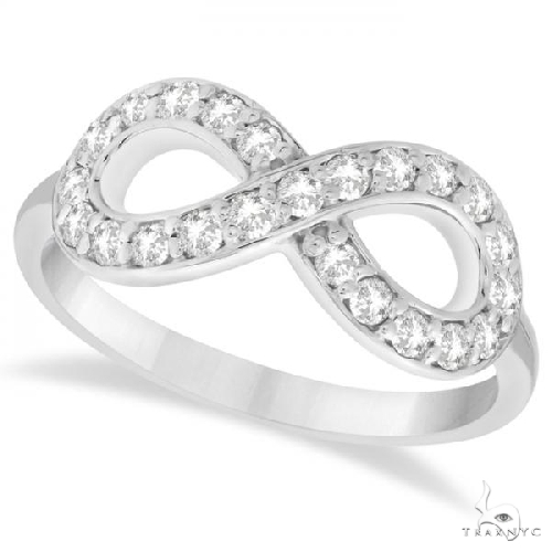 Twisted Diamond Infinity Ring Pave Set in 14k White Gold Anniversary/Fashion
