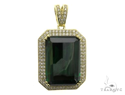 Two Row Green Tresaure Gold Pendant 63445 Metal