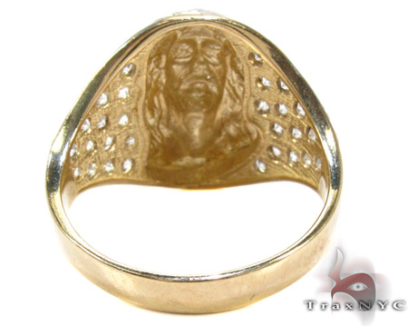 Two Tone 10K Gold CZ Jesus Ring 25244 Metal