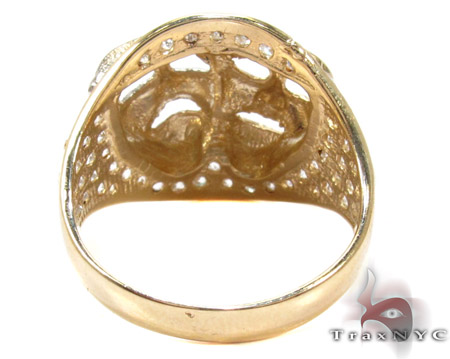 Two Tone 10K Gold CZ Masks Ring Metal