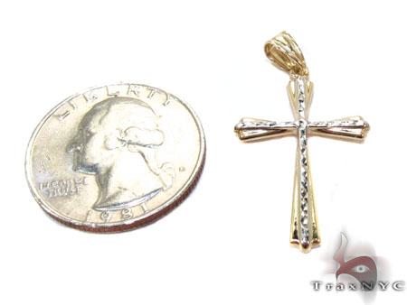 Two Tone 14K Gold Cross Crucifix Gold